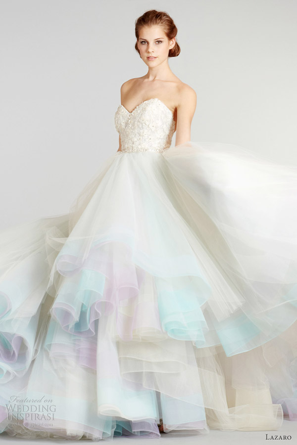 Wedding dresses: pastel colored wedding dresses