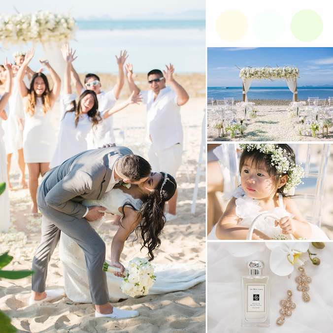 An All-White, Amazingly Romantic Small, Intimate Beach Wedding in Koh Samui