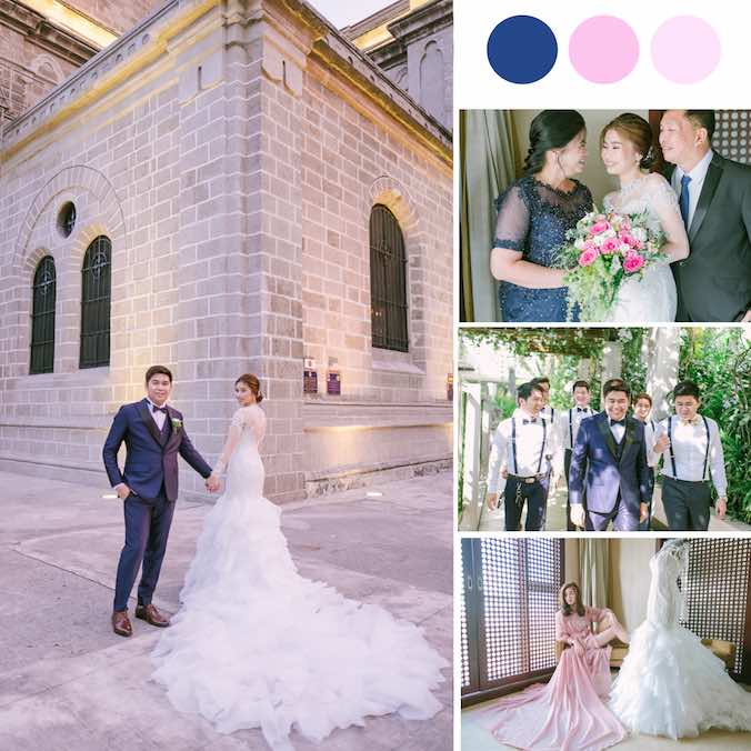 A Cathedral Wedding With Lots of Soft Pinks and Navy Blues