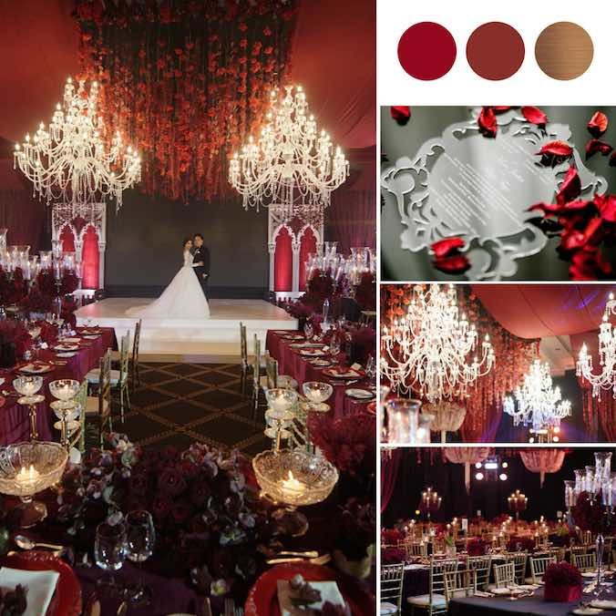 A Regal Wedding With Deep Red Roses & Chandeliers at The Peninsula Hotel, Manila