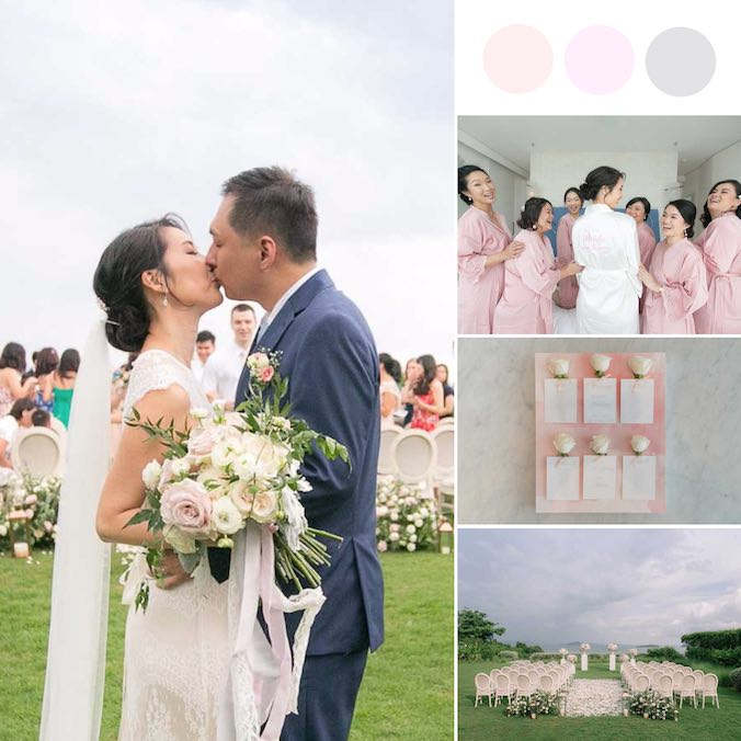 An Elegant Watercolor Blush Pink & Marble Gray Destination Wedding [Como Point Yamu]