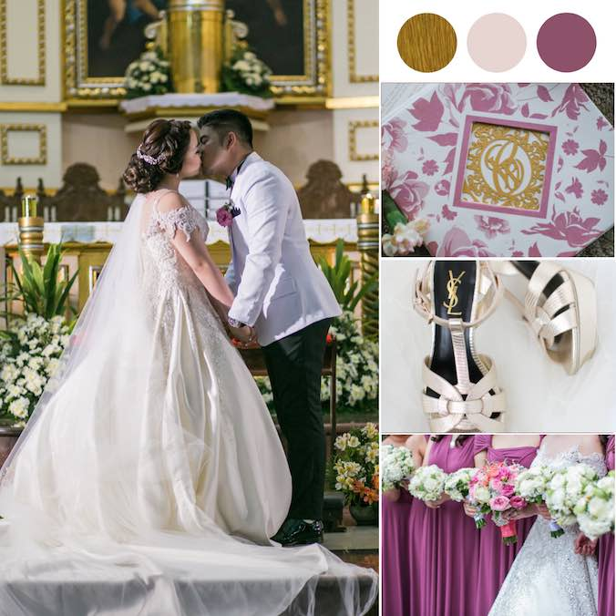 "Regal Romantic Church Wedding + An ""Old Rose"" Toned Reception"