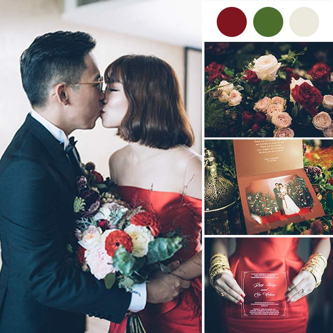 A Chic Four Seasons Wedding with Stylish Pops of Red
