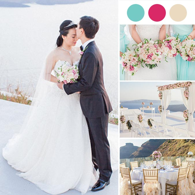 A Rose, Cream, and Gold Dream Chinese Wedding in Santorini, Greece