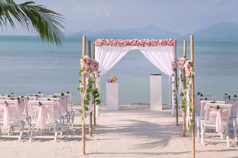 belmond napasai koh samui beach sand pink wedding package price 6