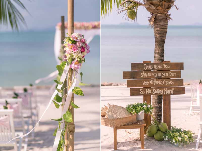 belmond napasai koh samui beach sand pink wedding package price 9