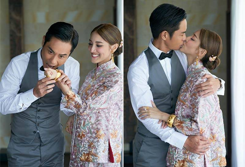 Grace Chan Kevin Cheng The Bvlgari Resort Bali Wedding Dress Chinese Qun Kua Gown