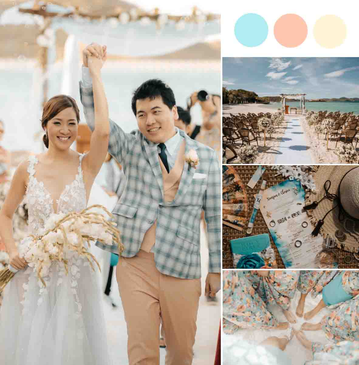 A Pastel Blue & Bright Peach Palawan Wedding [Sunlight Eco Tourism Island Resort]