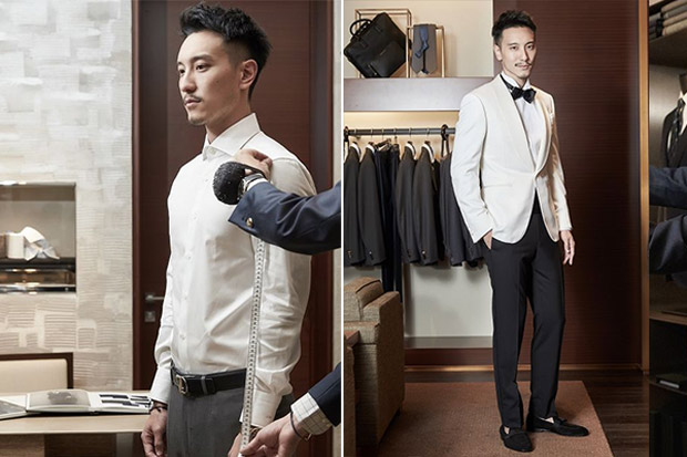 Sunny Wang Dominique Tsai Wedding Groom Tuxedo Ermenegildo Zegna 2