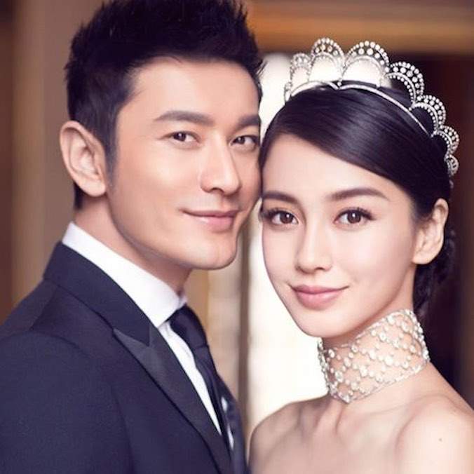 Chinese Model-actress, Angelababy & Actor, Huang Xiaoming at the Portman Ritz-Carlton Hotel, Shanghai