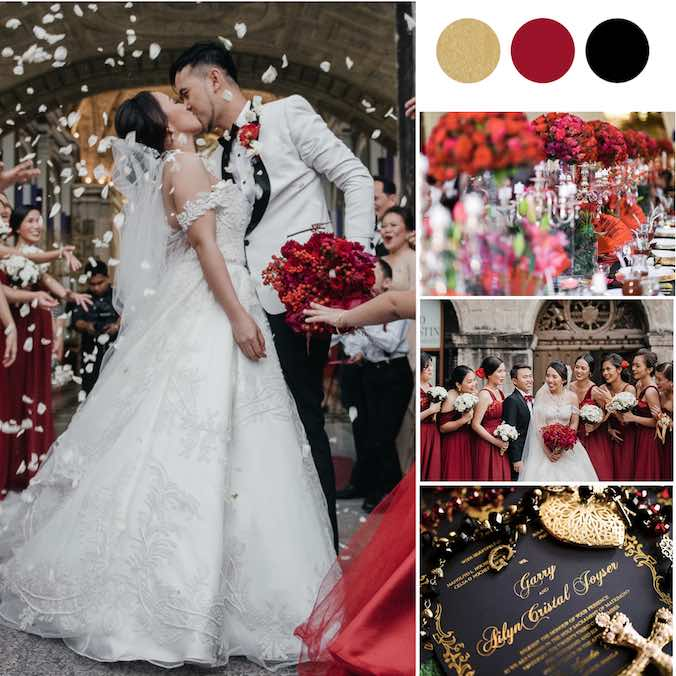 A 'Spanish Vintage Glam' Themed Wedding With Bold Colors of Champagne Gold & Burgundy Red