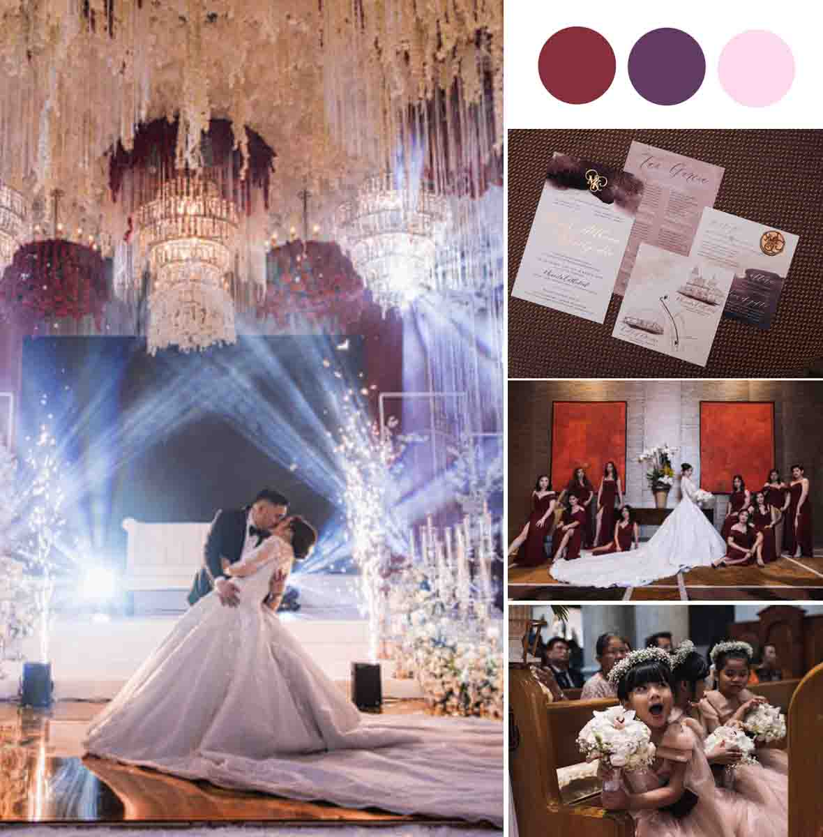 A Seriously Stunning Burgundy & Gold Wedding With A Gorgeous Chandelier Filled Ceiling [City of Dreams]