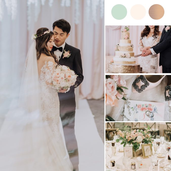 A Classic, Blush + Green + Gold Ballroom Wedding With The Prettiest Glittery Wedding Cake