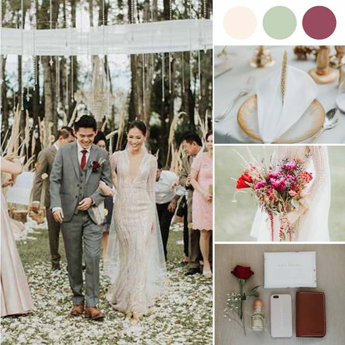 An Earth Toned Forest Wedding - With a Pop of Burgundy
