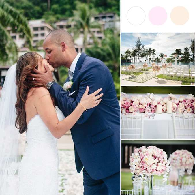 A Warm White + Pale Pink Phuket Wedding On Top of an Infinity Pool