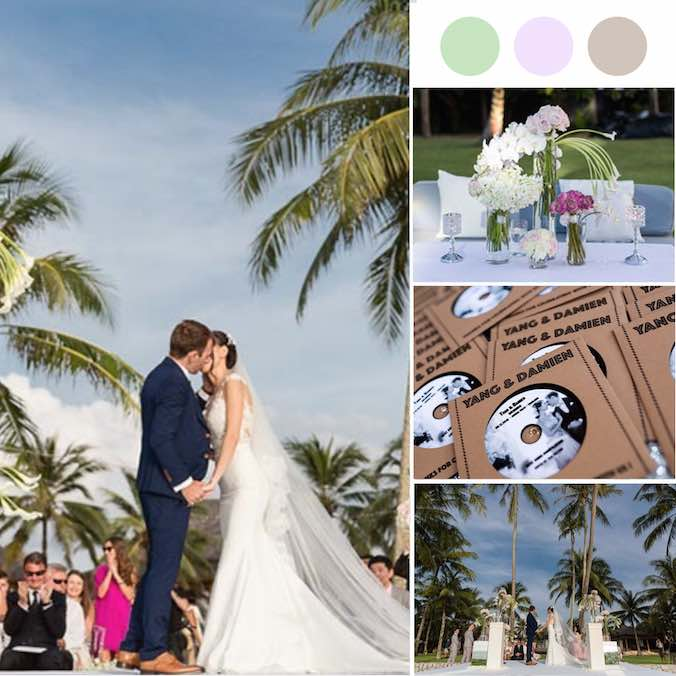 This Chinese-French Couple Had the Prettiest Beach Lawn Wedding