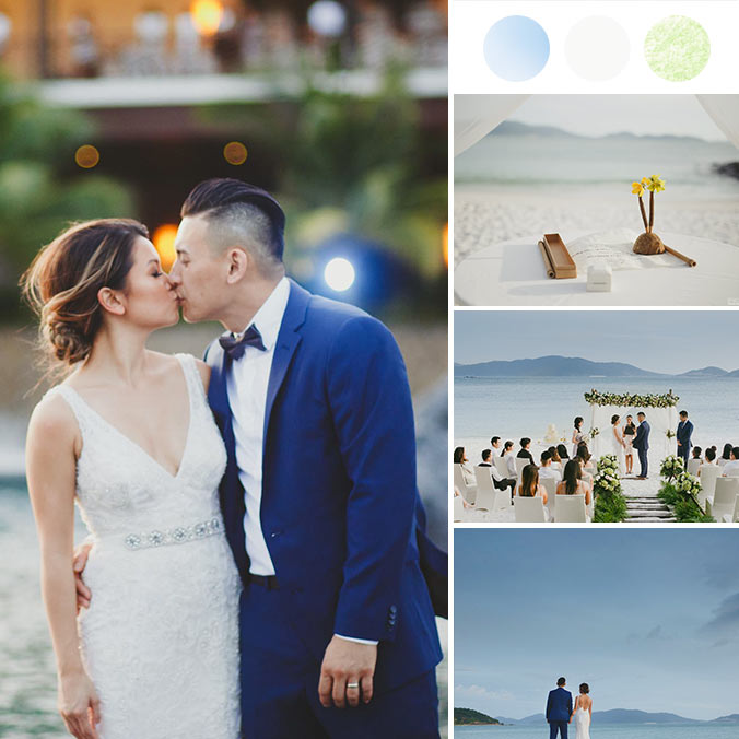 A Simple & Clean All White Nha Trang Beach Wedding