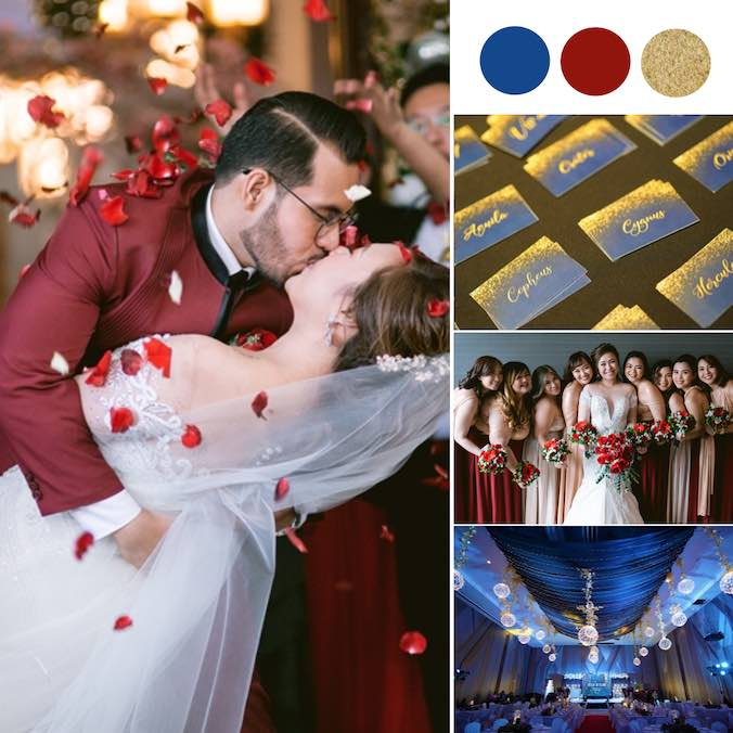 A Starry, Starry Night Wedding Theme With Stunning Marooons and Navy Blues [Novotel Manila Araneta Center]