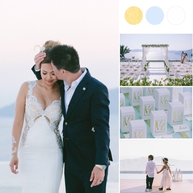 A White & Gold Santorini Dream Wedding + A Luxurious Cliffside Reception Under the Stars