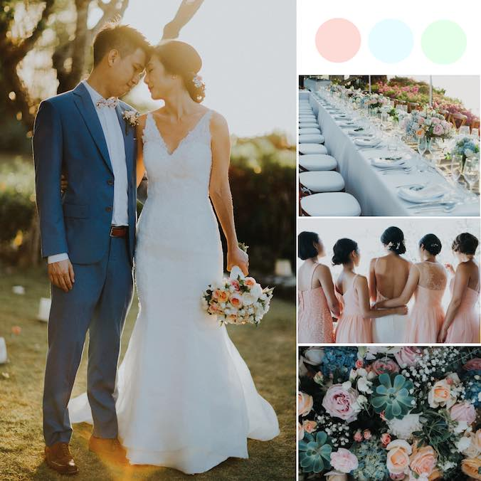 A Bali Cliffside Wedding With a Peach + Baby Blue + Mint Color Theme [Villa Bayuh Sabbha Bali]