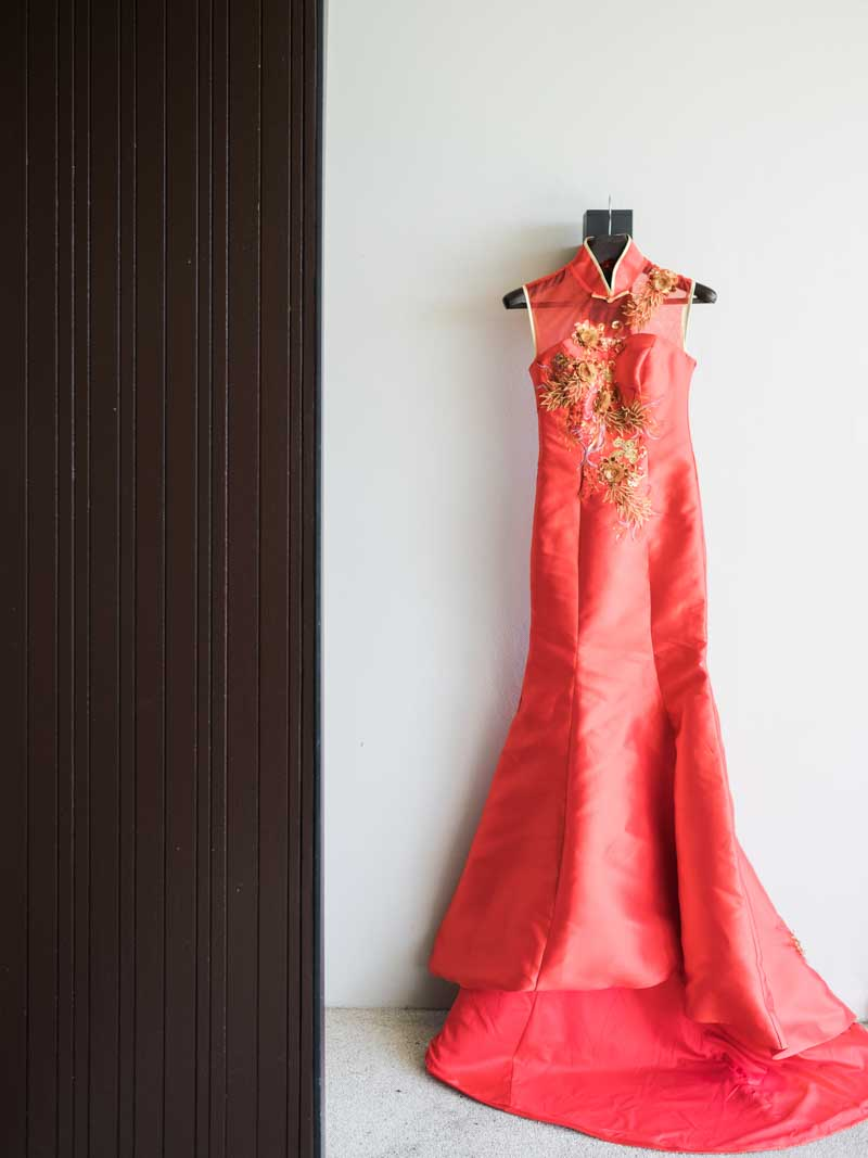 A gorgeous red mermaid style qipao that our Bride brought at a discount from our sister company, Wedding Shop World! #weddingconnectionwin