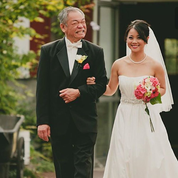 Father and Bride Touching Wedding Moment Photos 7