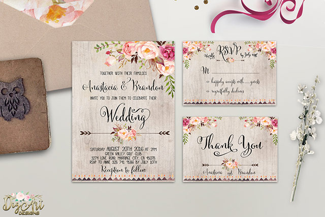 Fl Wedding Invitation Sets Traditional Yet Modern