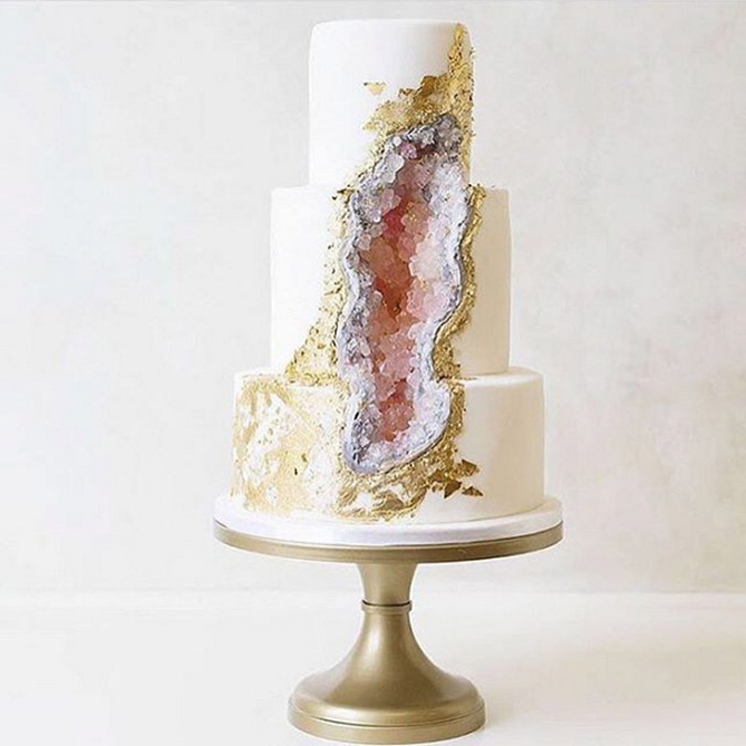 These Geode Wedding Cakes will Rock Your Big Day