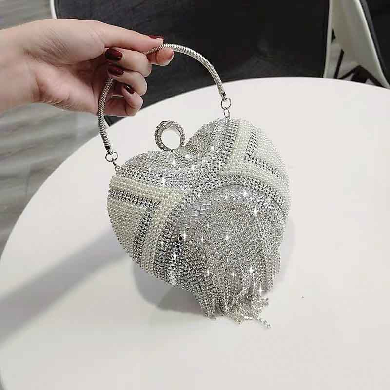 Silver Bridal Clutch Wedding Handbag with Pearl And Beaded Tassel Design