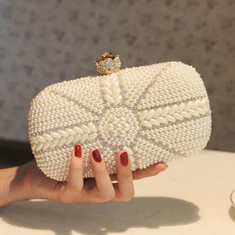 Bridal Clutch Wedding Handbag with White And Silver Pearl Encrusted Unique Design