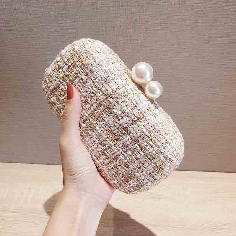 Beautiful Woven Bridal Clutch Wedding Handbag with Pearl Lock