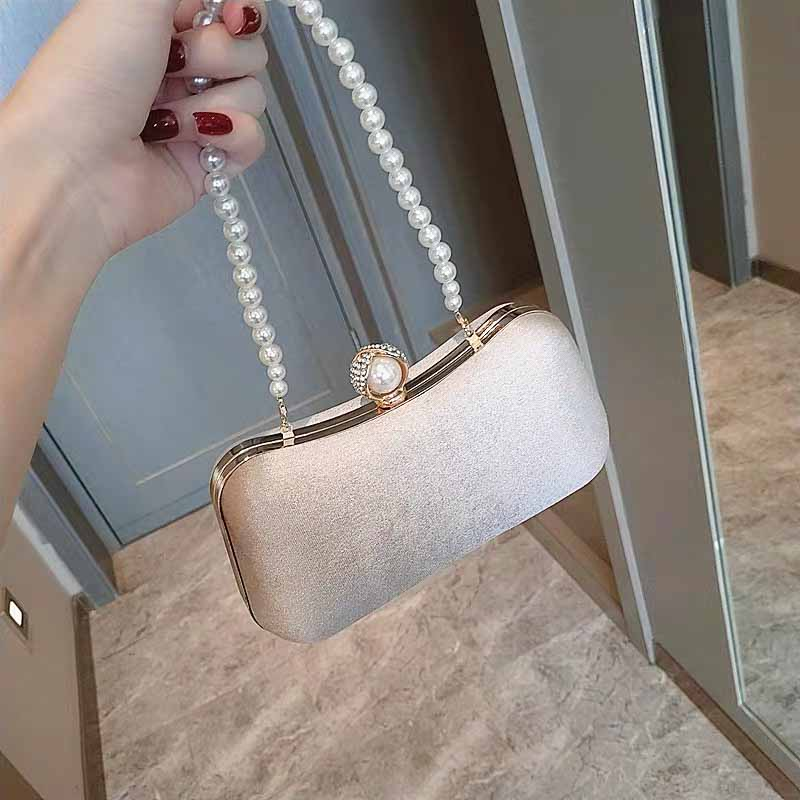 Satin Bridal Clutch Wedding Handbag with Pearl Clasp and Detachable Pearl Handle