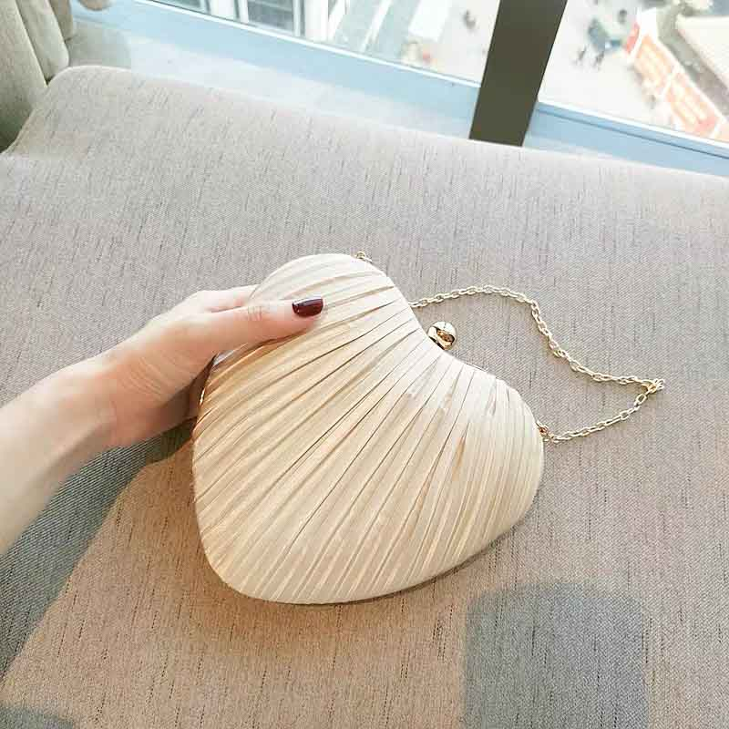 Heart Shape Pleated Bridal Clutch Wedding Handbag with Chain Strap