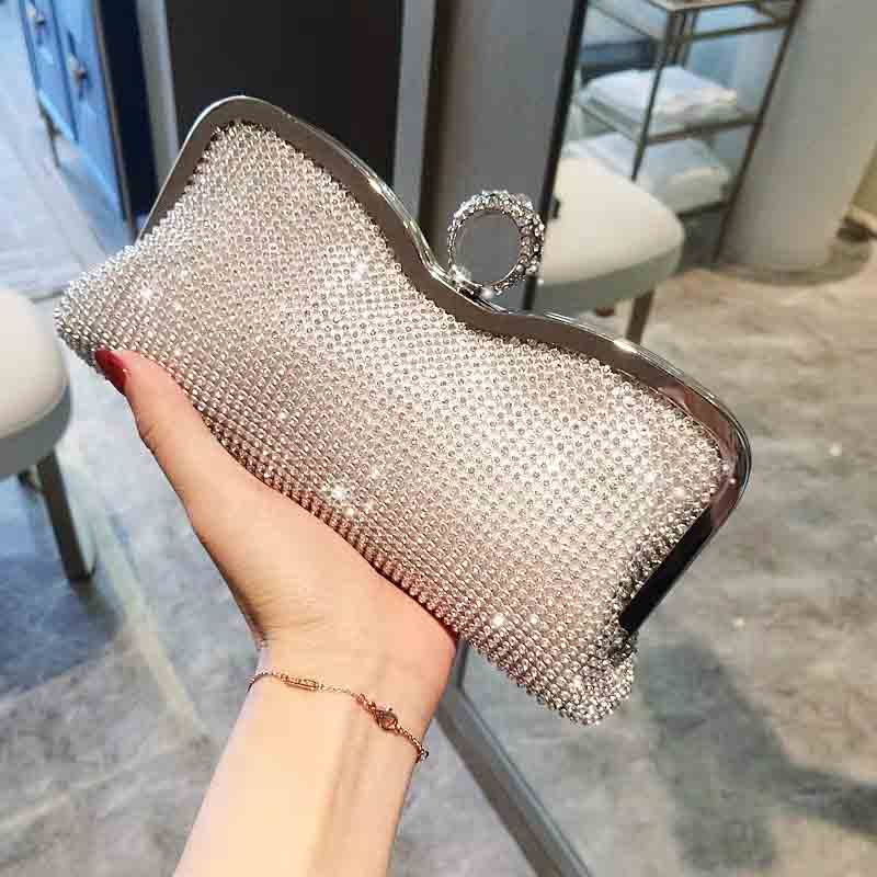 Soft Diamond Knuckle Finger Bridal Clutch Wedding Handbag with Hard Metal Lining