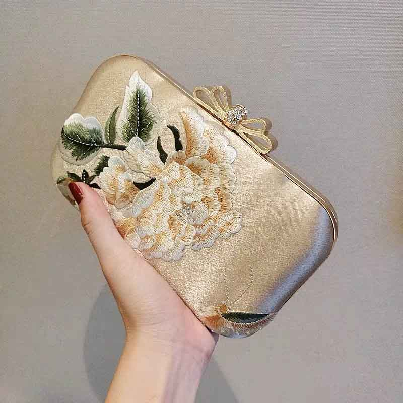 Gold Silk Embroidered Bridal Clutch Wedding Handbag