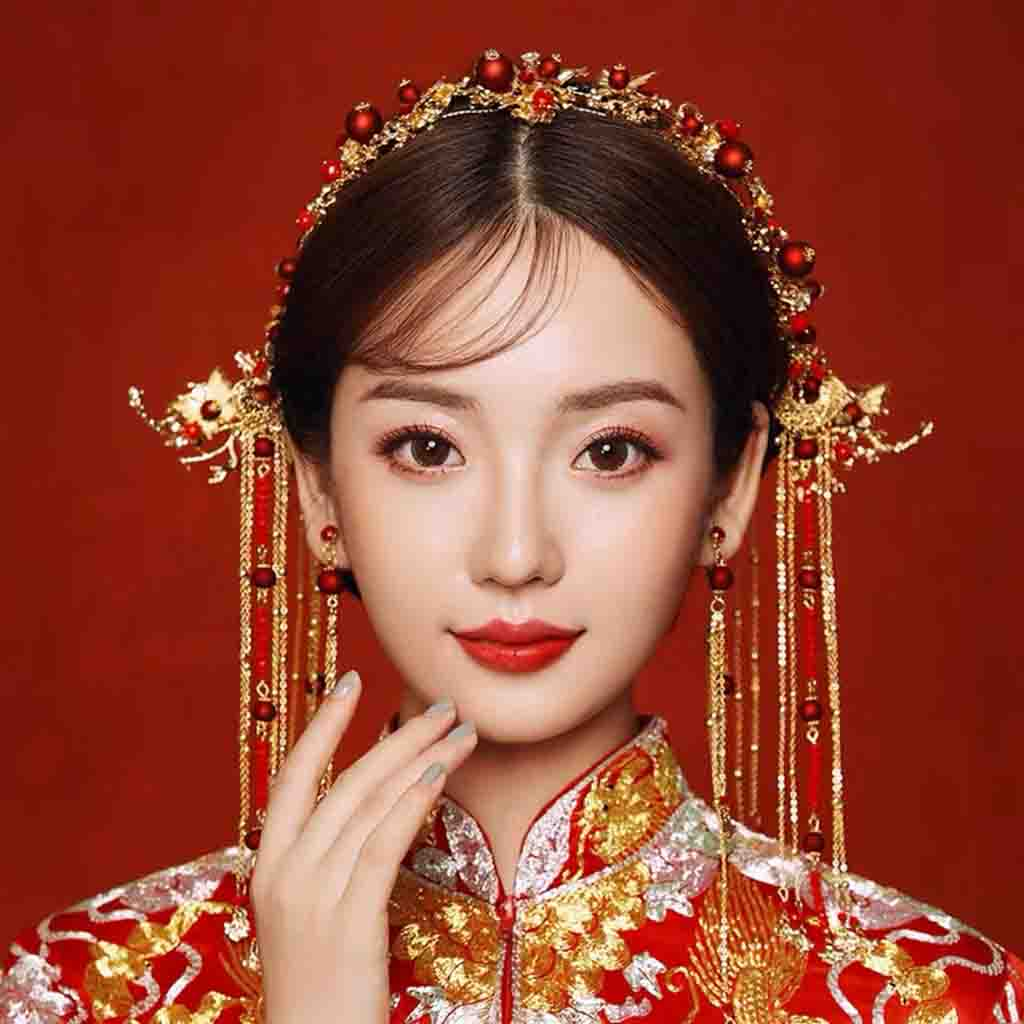 Chinese Gold Wedding Hairpiece For Cheongsam/Ao Dai/Qipao/Kua 旗袍/奧黛/龍鳳卦/秀禾服 With Combination Of Smal