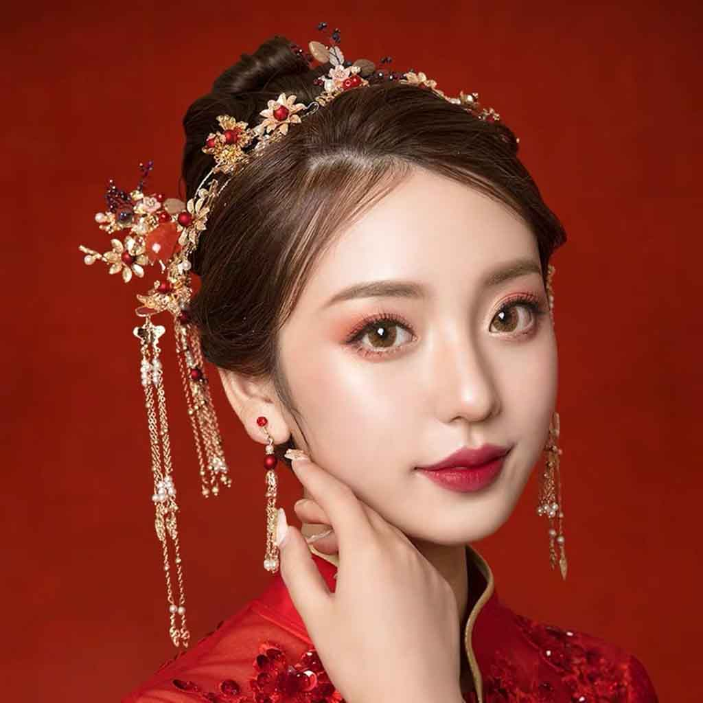 Chinese Gold Wedding Hairpiece For Cheongsam/Ao Dai/Qipao/Kua 旗袍/奧黛/龍鳳卦/秀禾服 Floral Design With Pearl