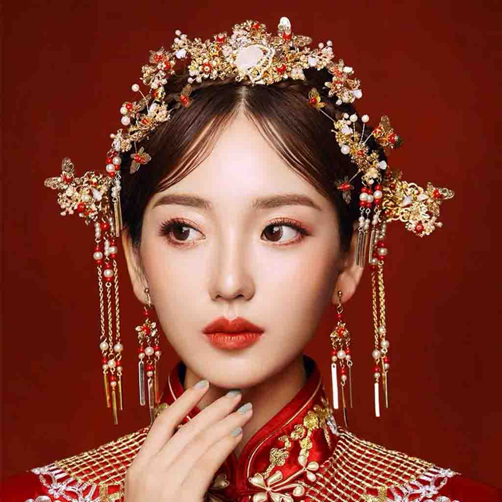 Chinese Gold Wedding Hairpiece For Cheongsam/Ao Dai/Qipao/Kua 旗袍/奧黛/龍鳳卦/秀禾服 Designed With Red Pearls
