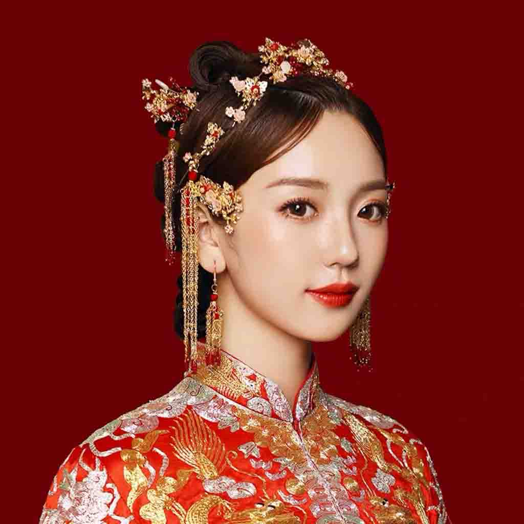 Chinese Gold Wedding Hairpiece For Cheongsam/Ao Dai/Qipao/Kua 旗袍/奧黛/龍鳳卦/秀禾服 Mini Butterflies And Min