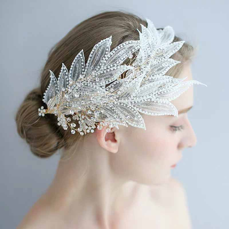 Lace Leaf Bridal Wedding Accessory Hairband