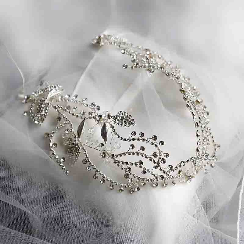 Silver Rhinestone Leaves Bridal Wedding Accessory Hairband