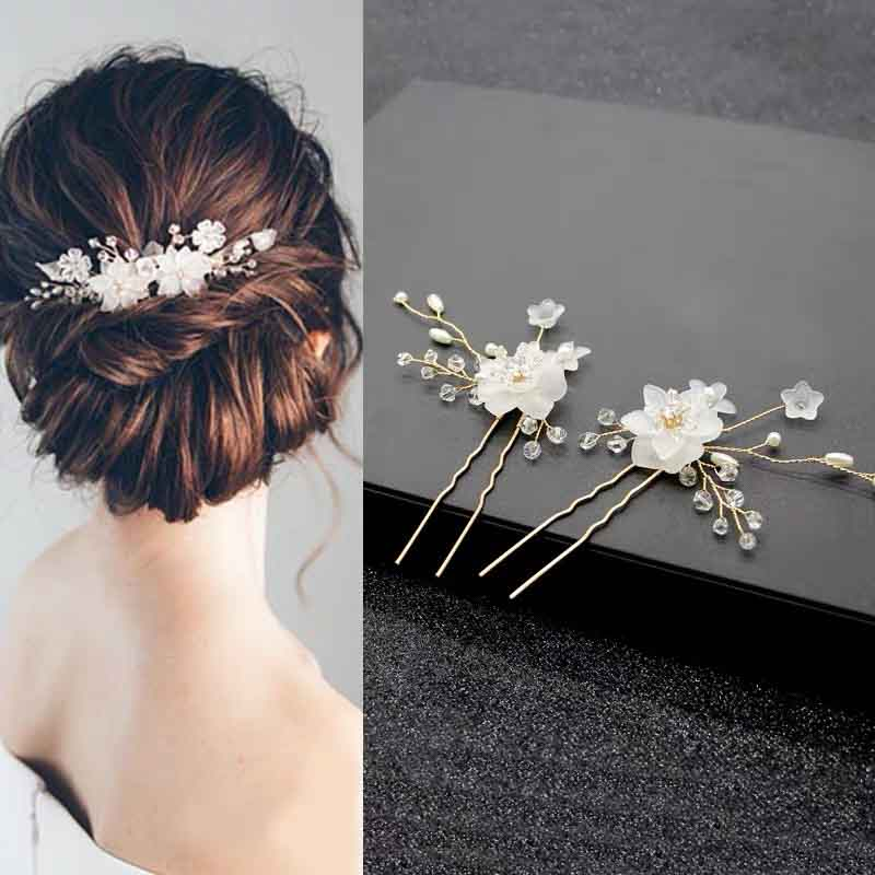 Floral Crystal Hairpin Bridal Wedding Accessory Hairband