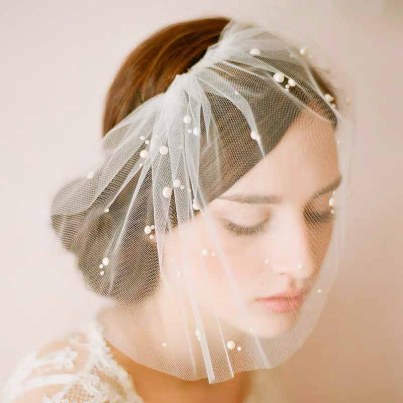 Birdcage Design Wedding Bridal Veil with Pearls and Hair Comb Clip
