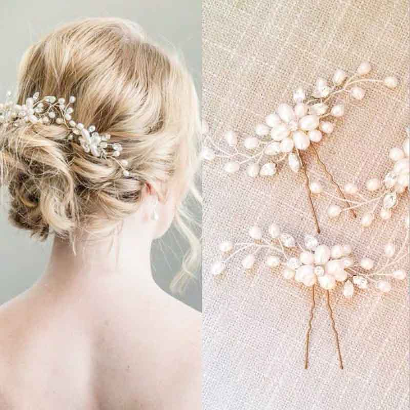 Floral Pearl Bobby Pin Bridal Wedding Accessory Hairband
