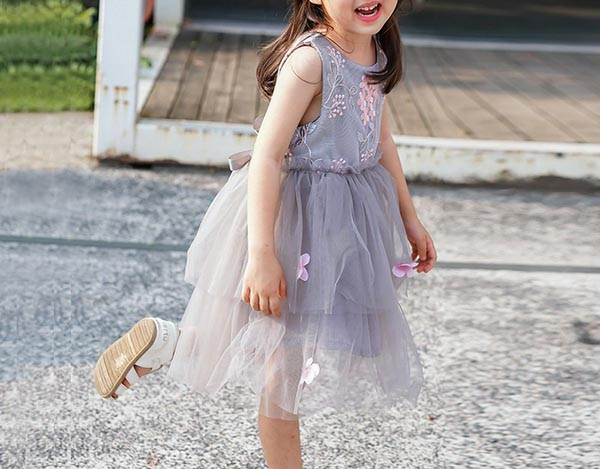 Sleeveless Flower Girl Dress with Pretty Faux Flowers