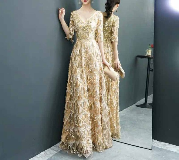 Mother of the Bride Dress [CUSTOM MADE] Gold V-neck Whole Body Tassel Design
