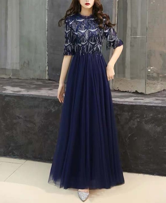 Mother of the Bride Dress [CUSTOM MADE] Navy Blue Half Sleeves Tassel Designed Top with Bottom Mesh