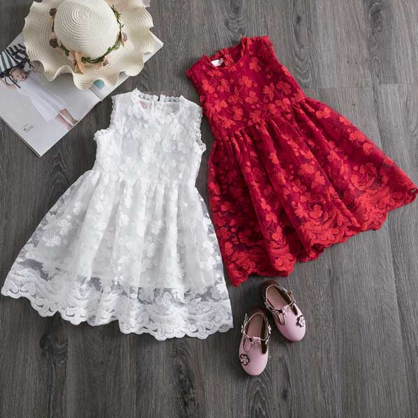 White and Red Flower Girl Dress with Beautiful Floral Pattern