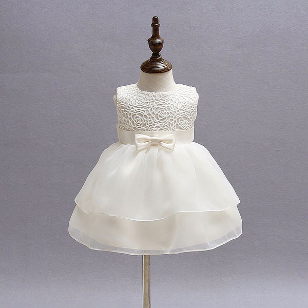 White Flower Girl Dress with Rose Pattern and Ribbon Centerpiece