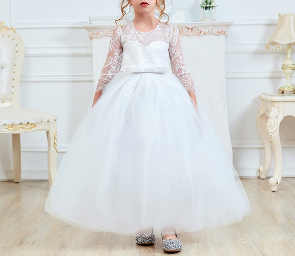 Classic White Flower Girl Dress with Elegant Floral Patterned Long Sleeves